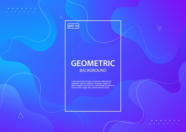 Синий геометрический фон. состав жидких форм. иллюстрация