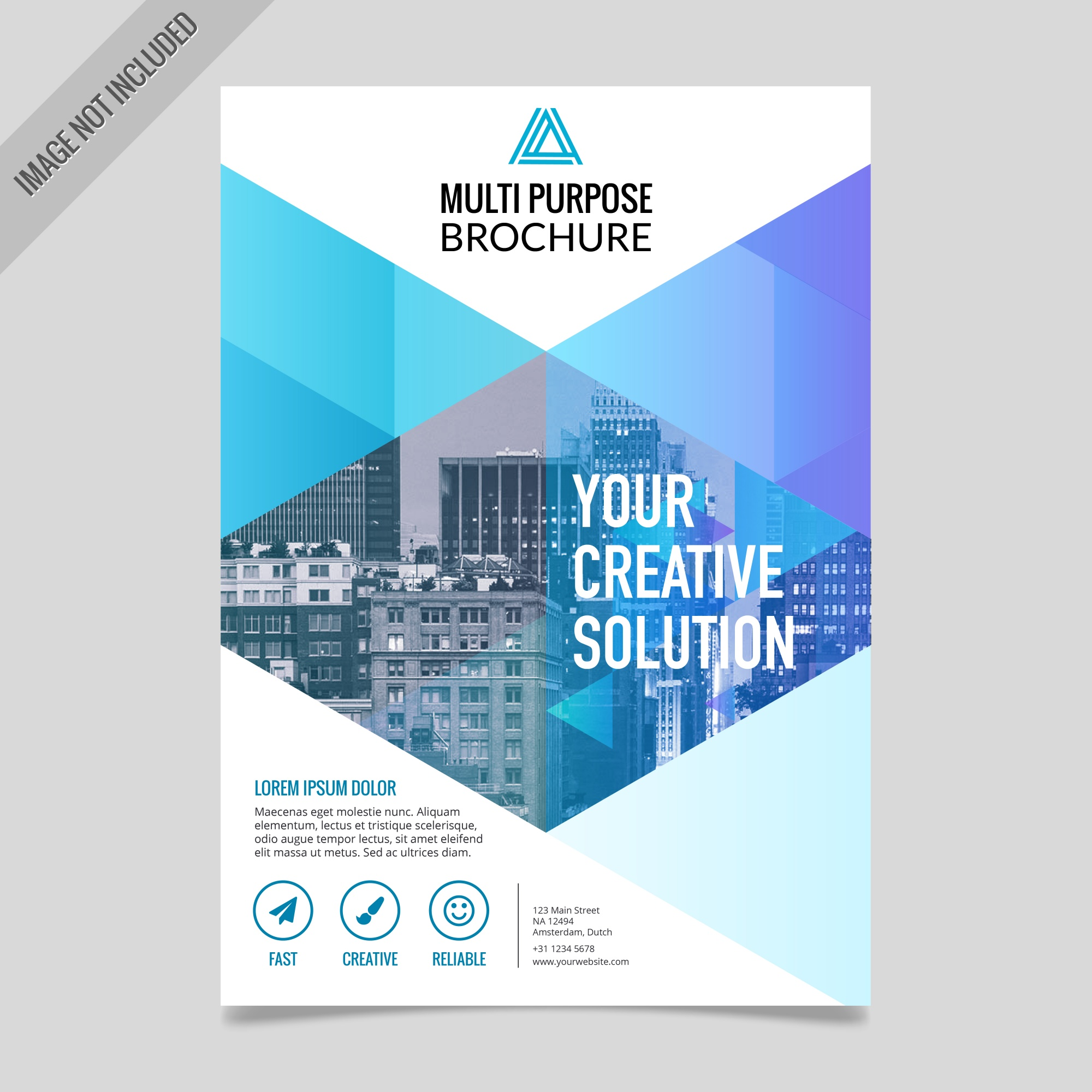 Blue geometric brochure with triangular shapes