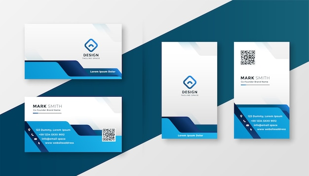 Blue geometric business card modern design template