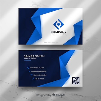 Blue geometric business card template