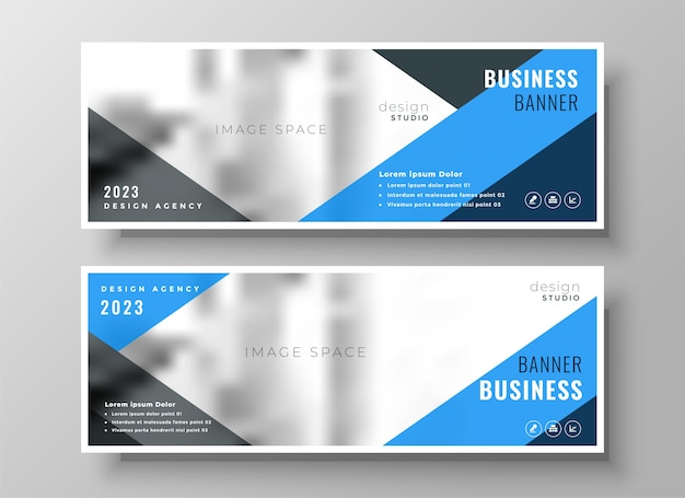 Blue geometric business facebook cover or header template design