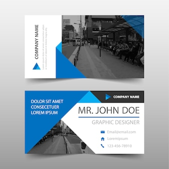Blue geometric commercial business card
