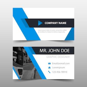 Blue geometric corporate business card