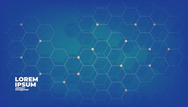 블루 기하학적 육각형 디지털 기술 배경입니다. 프리미엄 벡터