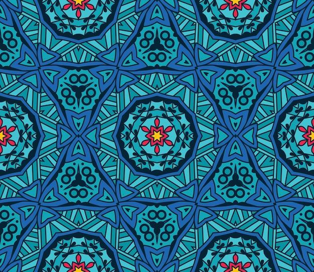 블루 기하학적 만화경 원활한 패턴 민족 부족 배경