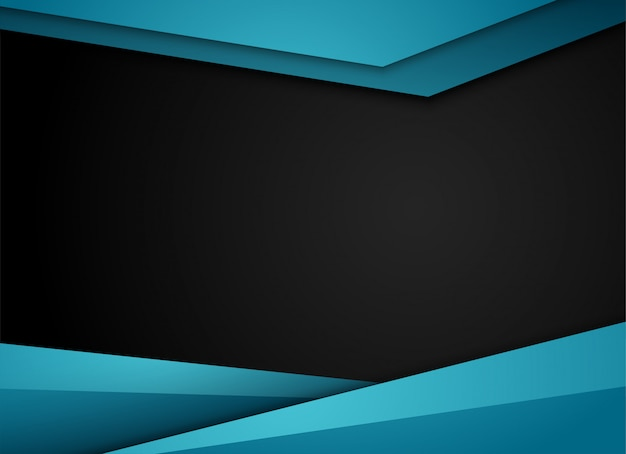 Blue geometric and overlap layer on gray background,