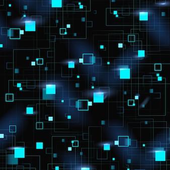 디지털 기술과 파란색 기하학적 패턴 배경