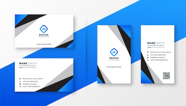 Blue geometric professional business card design