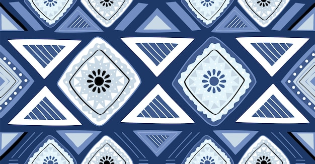 Blue geometric seamless pattern in african style