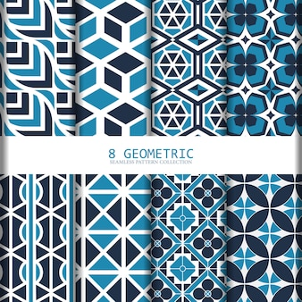 Blue geometric seamless pattern collection