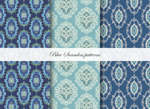Blue geometric seamless patterns
