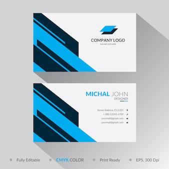 Blue geometric shape business card template design