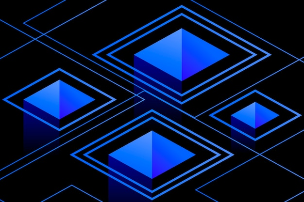Blue geometric shapes on dark background