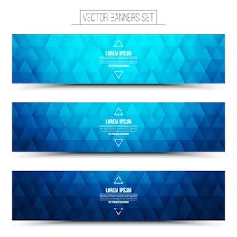 Blue geometric web banners set