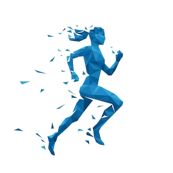 Blue geometric woman running illustration.