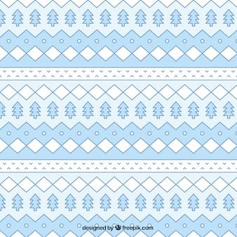 Blue geometrical christmas pattern