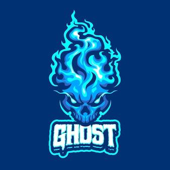 E 스포츠 및 스포츠 팀을위한 블루 고스트 마스코트 로고
