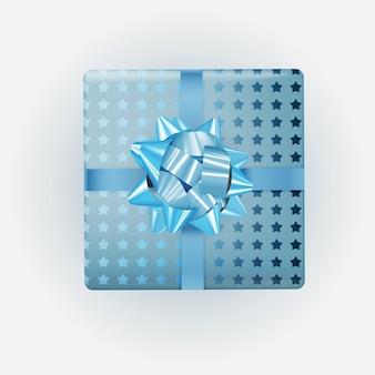 활과 리본 블루 선물 상자입니다.