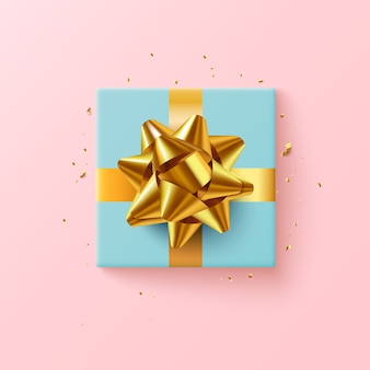 Синяя подарочная коробка с золотой лентой