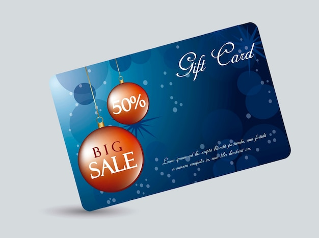 Blue gift card with christmas balls vector illustration