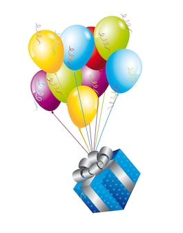 Blue gifts with balloons over white background vector illutration