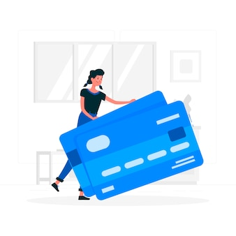 Blue girl with credit card flat style