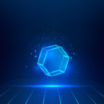 Blue glass hexagon. geometric object floating in the air. vector illustration