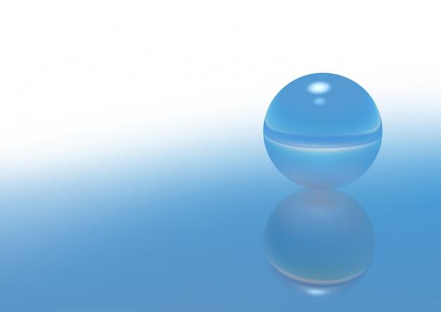 反射と青いガラス球