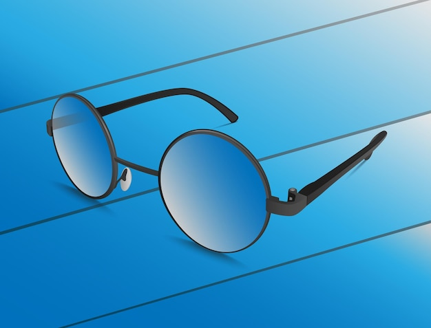 Blue glasses on a blue background