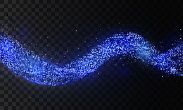彗星跡の青いキラキラ波。透明な背景にスターダストトレイル輝く粒子。