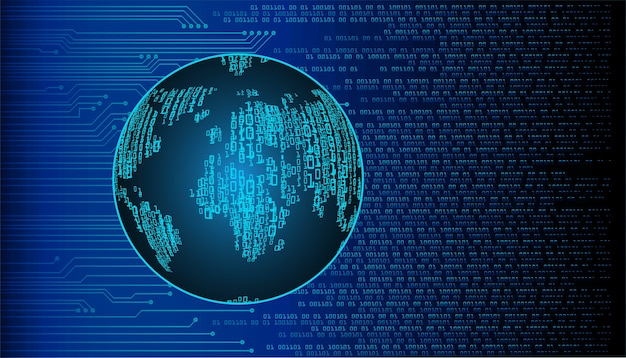Blue global world cyber security concept background.
