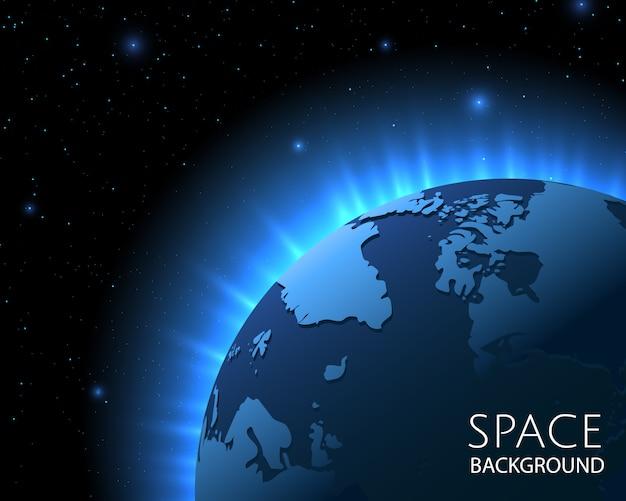 青い地球の背景。エネルギーの光線、世界地図