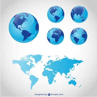 Blue globes and world map