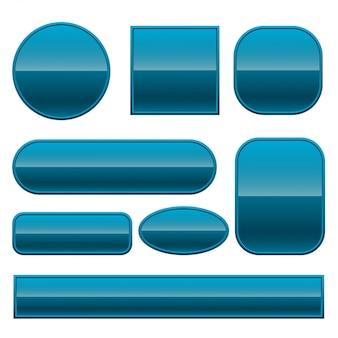 さまざまな形で設定された青い光沢のあるボタン