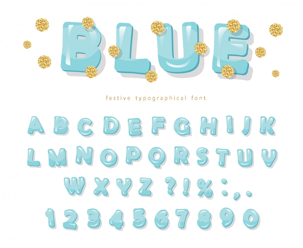 Blue glossy font. gold glitter confetti.