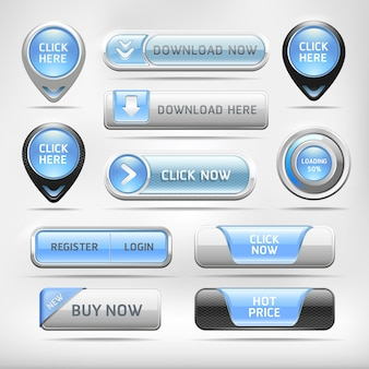 Blue glossy web elements button set