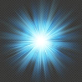 푸른 빛 스타 버스트 플레어 폭발 조명 효과. 투명 배경에 고립.