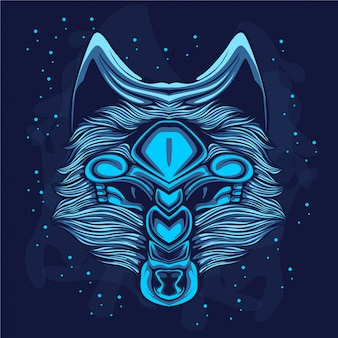 Blue glow wolf on the nigh sky
