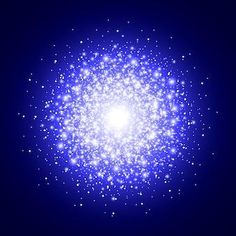 푸른 빛나는 배경. 반짝이는 입자. 별 먼지. 플래시, 반짝임.