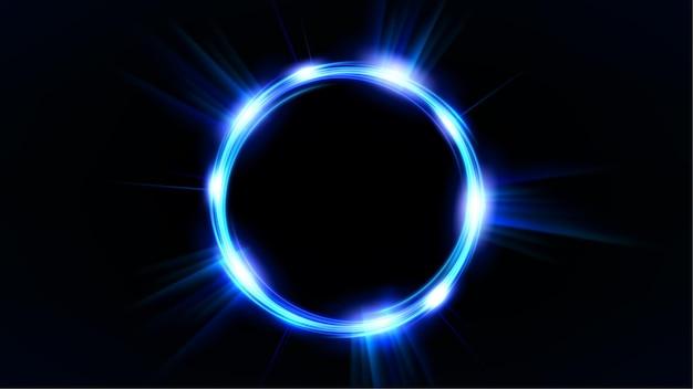 어두운 배경에 파란색 빛나는 원 우아한 조명된 빛 반지
