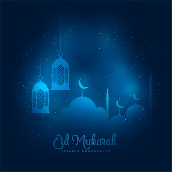 Blue glowing eid mubarak mosque and lantern background