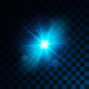 투명 배경에 파란색 빛나는 빛 반짝이 효과. 마법의 별 먼지가 폭발로 빛의 효과를냅니다