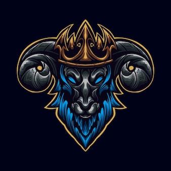 王冠のロゴのマスコットイラストレーターと青いヤギ