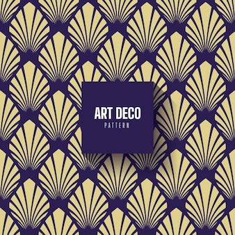 Blue gold art deco palm pattern