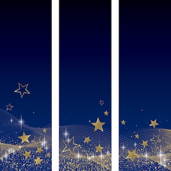 Blue and gold background set