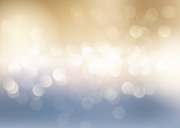 Blue and gold bokeh lights background