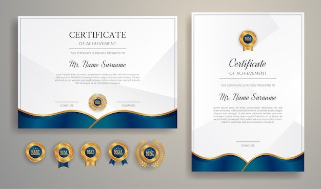 Blue and gold certificate of achievement border template with luxury badges