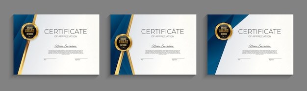 Blue and gold certificate of achievement template set background with gold badge and border