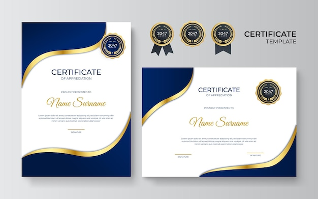 Blue and gold certificate of achievement template with gold badge and border. certificate template with golden decoration element. design diploma graduation, award. vector illustration