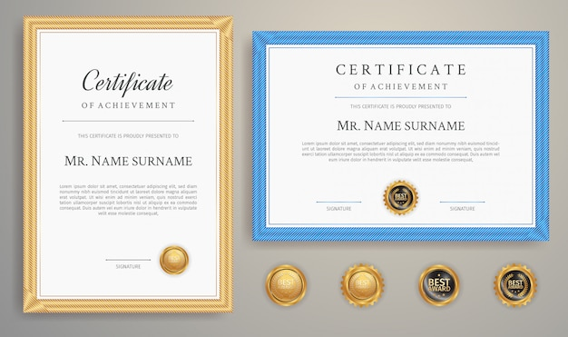 Blue and gold certificate border template for business and education document